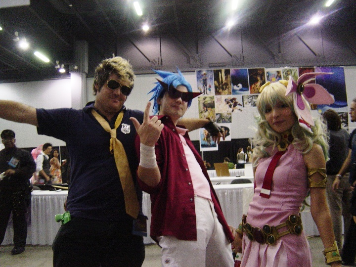 This was an awesome, DOUBLE K-inspired, Gurren Lagann group. They were quite entertaining to talk to and Kamina's glasses were being held up by drill power.