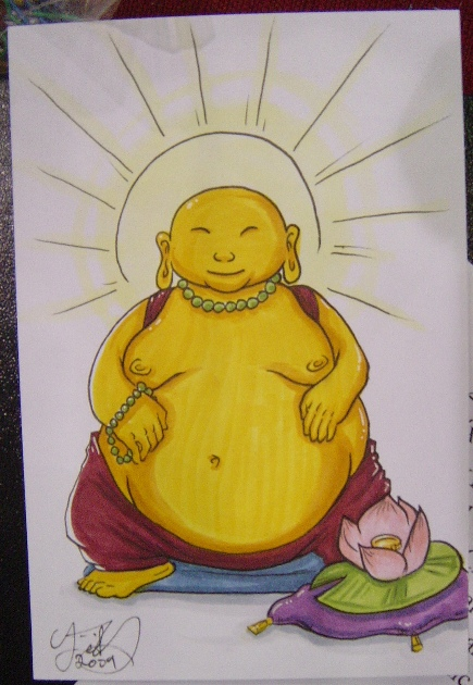 I also did a colored sketchcard of Budda for someone on Friday. Most random thing I've been requested, but it was interesting? :o